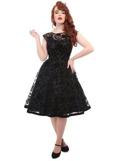 Robe Rockabilly Retro Pin-Up 50's Glamour Soirée Velvet Brocard Faye