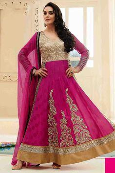 Preity Zinta Suit -Pink Jacquard Anarkali Suit online shopping - Fashion234Cat2763 - Zohraa.com