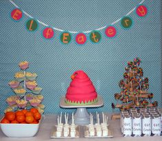 Elf Workshop Party dessert table! ELF EATERY!