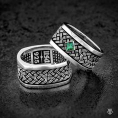 """NightRider Jewelry """"Celtic Knot Band"""" Rings in Sterling Silver 