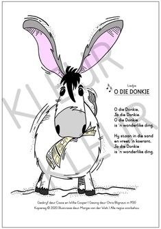 33557-DonkieCol_WM Swimming Program, Fun Songs, Afrikaans, My Teacher, Cool Drawings, Literacy, Laughter, Minnie Mouse, Disney Characters