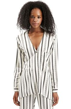 Topshop Stripe V-Neck Shirt at Nordstrom.com. Monochrome stripes pattern this casual, stretch-woven V-neck shirt cut with three-quarter sleeves.