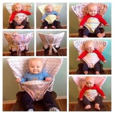 Have you ever been to a party, restaurant or friends house and wished you had a highchair? Are you tired of lugging around a bumbo seat or Sewing For Kids, Baby Sewing, Baby Kind, Baby Love, Siege Bebe, Sewing Crafts, Sewing Projects, Diy Bebe, Baby Crafts