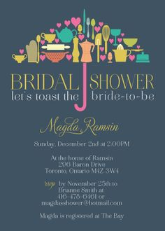 Kitchen cooking theme bridal wedding shower invitation with rsvp kitchen themed bridal shower invitation by paperdamsels on etsy filmwisefo