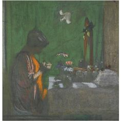 ÉDOUARD VUILLARD 1868-1940 MADAME HESSEL À SON CABINET DE TOILETTE stamped E Vuillard (lower left)  pastel on board 66 by 64.1cm., 26 by 25 ...