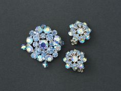 Vintage Weiss Rhinestone Brooch and Earrings  Blue from ShinyShelly