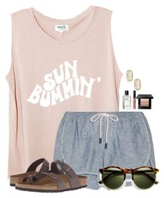 """""""When is yall's Spring Break?"""" by flroasburn ❤ liked on Polyvore featuring rag & bone, Bobbi Brown Cosmetics, Kendra Scott and Birkenstock"""
