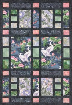 Shoji Screen strip-pieced quilt pattern. Possible baby quilt highlighting fabric