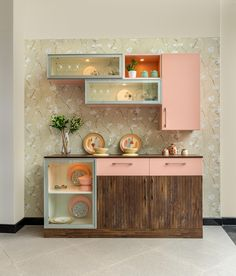 Room Door Design, Kitchen Room Design, Home Room Design, Modern Kitchen Design, Dining Room Design, Home Decor Kitchen, Interior Design Kitchen, Crockery Cabinet, Crockery Units
