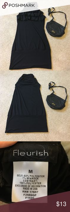 Ruffle top, body on little black dress Fitted around the hips with a little give in the torso. This makes for the perfect little black dress! Size medium but will fit a small as well. Dresses Mini