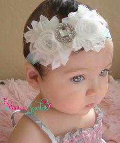 Venda del bebé... blanca flor venda, venda del bebé, bebé niña hedband, venda recién nacido, bautismo