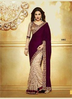 New Designer Purple And Cream Half N Half Saree Sarees