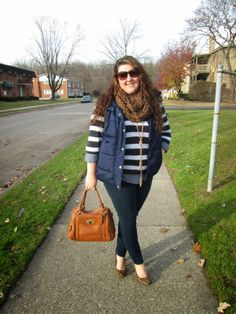Four Season Fabulous: Throwback Thursday: Sing the Blues (striped sweater, polka dot chambray, leopard pumps, tassel necklace, leopard scarf, vest)