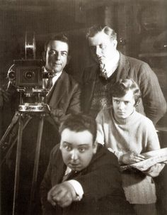 Alfred Hitchcock in his apprenticeship on the set of The Mountain Eagle in 1926. Also in this photo is his future wife, Ann Reville.