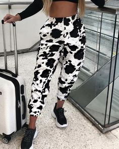 Cow Spotted Long Casual Pants - Source by womanfashionshop - Cow Outfits, Fashion Outfits, Style Fashion, Cow Spots, Cow Print, Printed Pants, Aesthetic Clothes, Pattern Fashion, Casual Pants