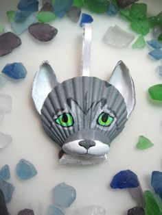 Gray tabby cat ornament Hand painted seashell cat by Lorishellart, $21.00