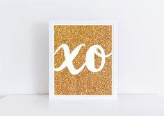 Gold XO Print, Gold Glitter Art Print, $5 Instant Download