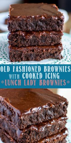 This Old Fashioned Lunch Lady Brownies Recipe is a tried and true, favorite dessert! No one can resist the rich, fudgy brownies and crackly, cooked icing! Brownie Recipe With Cocoa, Brownies Recipe No Butter, Fudgy Brownie Recipe, Brownie Frosting, Homemade Brownies, Fudgy Brownies, Homemade Chocolate, Brownie Cookies, Pecan Cookies