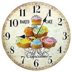 Home Decoration Vintage Style Shabby Chic MDF Cupcakes Scene Wall Clock Obique http://www.amazon.co.uk/dp/B00O53MMZE/ref=cm_sw_r_pi_dp_6mIyub0T626RP #wall #clock #cupcakes #vintage