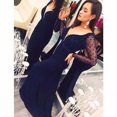 Long Sleeve V_NECK Backless Prom Dress Navy Blue Mermaid Vestido Longo