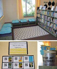 Middle school classroom decor so many cute ideas for inviting reading spots in your classroom Reading Corner Classroom, Classroom Layout, Middle School Classroom, Classroom Design, Classroom Organization, Classroom Management, Classroom Color Scheme, Classroom Ideas, Classroom Libraries
