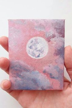 Acrylic Miniature Moon Painting - Acrylic Miniature Moon, Pink Art with Glitter, Celestial Best Friend Gift, Mini Full Moon Art, Luna - Cute Canvas Paintings, Small Canvas Art, Mini Canvas Art, Easy Canvas Painting, Moon Painting, Mini Paintings, Diy Painting, Acrylic Paintings, Miniature Paintings