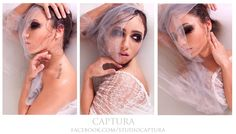 """Water Lillies""  Photo/HMUA:Studio-Captura Model: Anna  www.facebook.com/studiocaptura    Photographer. Model. Photography. Captura. Hair. Makeup. Photo. Photo ideas. Pretty. Photoshoot. Dark makeup. Smokey eye. White. Tulle. Lace. Brunette. Green eyes. High fashion photography. Beautiful. Cool photography. Female model. Hairstylist. Makeup artist."