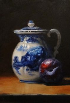 """Daily Paintworks - """"Flow Blue Cream Pitcher and Plum"""" - Original Fine Art for Sale - © Mary Ashley Painting Still Life, Still Life Art, Amazing Paintings, Oil Paintings, Classical Realism, Fruit Painting, Types Of Art, Love Art, Art Pictures"""
