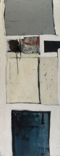 John Blackburn: Blues and Greys with Red, c.1961 Oil and mixed media on canvas.