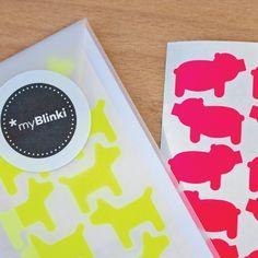 bicycle accessories Neon Aufkleber Set / hipp Stuff;) by www.myblinki-fahrrad-aufkleber.de neon sticker schwein und hund pink gelb