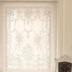 Heritage Lace Kensington White Lace Curtain Panel 60 in. W x 63 in. – The Home Depot – Home furniture – lace White Lace Curtains, Lace Curtain Panels, Drapes Curtains, My Living Room, Living Room Decor, Dining Room, Victorian Window Treatments, Home Depot, Victorian Curtains