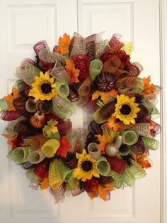 Autumn curly deco mesh wreath!