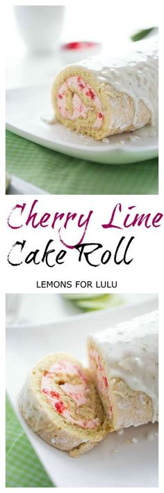 Cherry lime cake roll features a tender vanilla cake, cherry buttercream and a simple lime glaze. lemonsforlulu.com