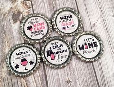 Wine earth magnets - It's wine o'clock - Wines constantly - Wine a little - Laugh a lot - Official wine club member - Keep calm drink wine by Shaebugs on Etsy