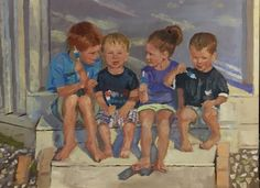 Popsicle kids-children on a stoop eating popsicles by St. Louis artist  Kay Crain,  -- Kay Crain