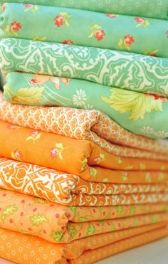Aquas and Oranges in Honeysweet by Fig Tree Quilts for Moda Fabrics