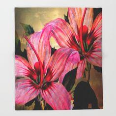 Vintage Painted Pink Lily Throw Blanket