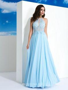 A-Line/Princess Spaghetti Straps Applique Sleeveless Floor-Length Chiffon Dresses - Prom Dresses - Occasion Dresses - QueenaBelle.com