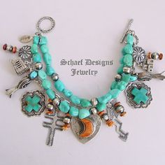 Schaef Designs Orange spiny oyster shell & blue turquoise charm bracelet | Schaef Designs Southwestern turquoise Jewelry | New Mexico                                                                                                                                                      More