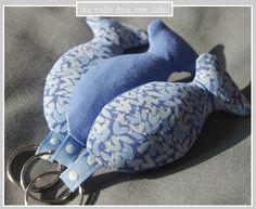 porte clé-Liberty-wild perennial bleu-poisson-personnalisable