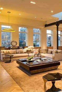 Stunning Soho Penthouse - Style Estate - if I had a million dollars! Condo Living, Home Living Room, Living Spaces, Beautiful Houses Interior, Beautiful Homes, Interior Architecture, Interior Design, Luxury Penthouse, Loft Style