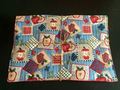Quilted Placemats.  Set of 6 Apples and Numbers by CozeeQuilts