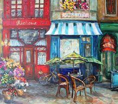 Karien Boonzaaier Decoupage, Trip The Light Fantastic, Kids Singing, Drawing Sketches, Drawings, Paris Party, City Scene, Sidewalks, Watercolour Tutorials
