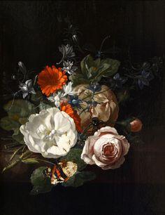 A Still Life of Flowers on a Table Ledge, Rachel Ruysch