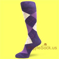 Purple Dress Socks for Men with Lavender & White Argyles Groomsmen Socks Gift, Argyle Socks For Men and Wedding Day Gifts, Wedding Ideas, Royal Purple Wedding, Groomsmen Socks, Argyle Socks, Prom 2016, Charity Event, Dress Socks, Purple Dress