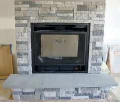DIY Stone Fireplace with AirStone   Airstone, Dark colors and Dark