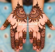 Gorgeous Eid Al-Adha Mehndi Designs 2019 - Kosmetik Nageldesign - Henna Designs Hand Easy Mehndi Designs, Henna Hand Designs, Dulhan Mehndi Designs, Latest Mehndi Designs, Bridal Mehndi Designs, Mehendi, Round Mehndi Design, Mehndi Designs Finger, Engagement Mehndi Designs