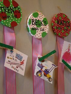 Ribbons and clothespins for kids to pin their wish list items on