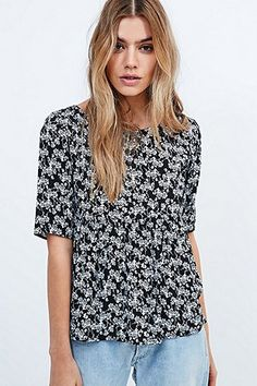 9f8ad417077e3 Urban Renewal Vintage Remnants - Haut babydoll noir - Urban Outfitters
