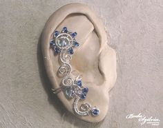 FORGET ME NOT   wire wrapped ear cuff  silver and by bodaszilvia, $19.50
